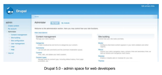Drupal 5.0 interface