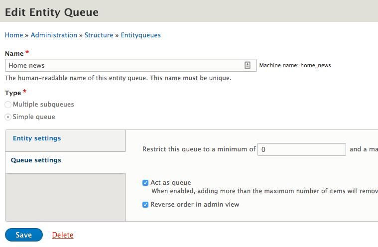 Reverse order in admin view - Drupal 8 Entityqueue