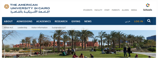 The American University in Cairo |  Drupal University Websites in the ME