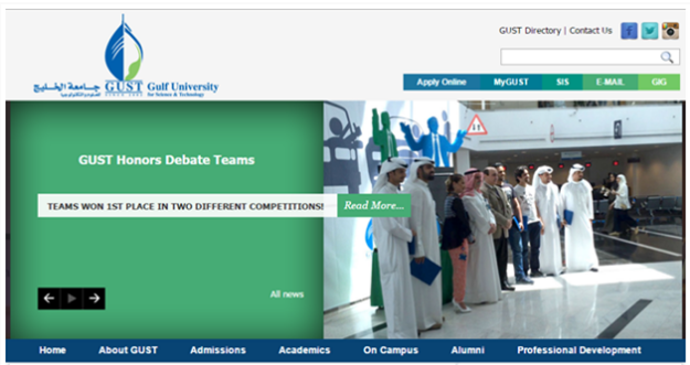 Gulf University for Science & Technology |  Drupal University Websites in the ME