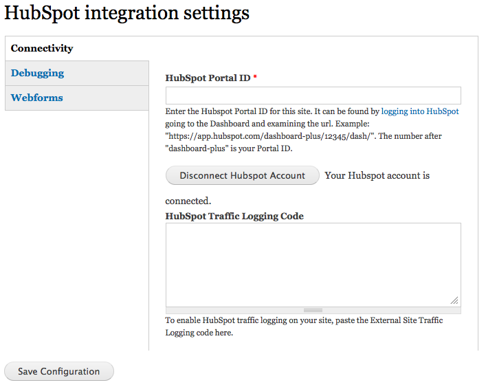 HubSpot Integration Settings