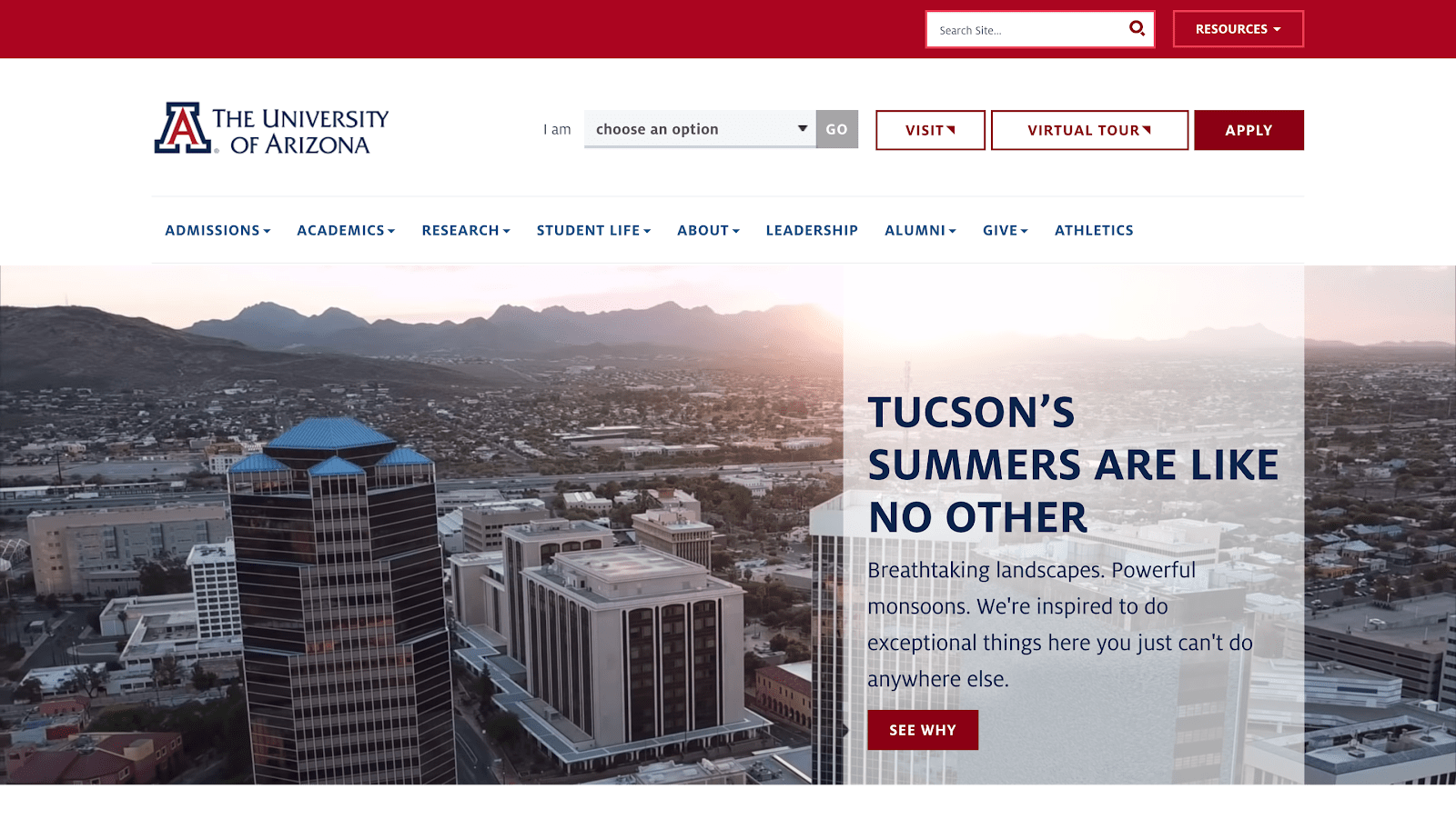 University of Arizona Website