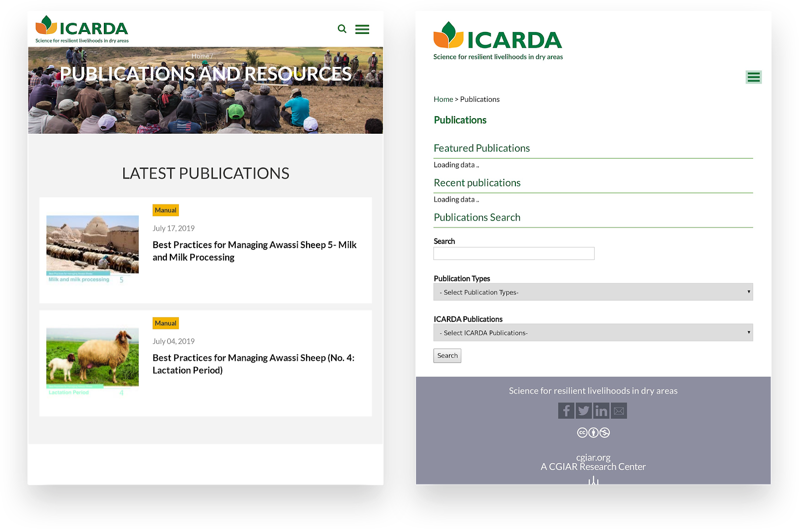 Old vs New Publications Search - ICARDA