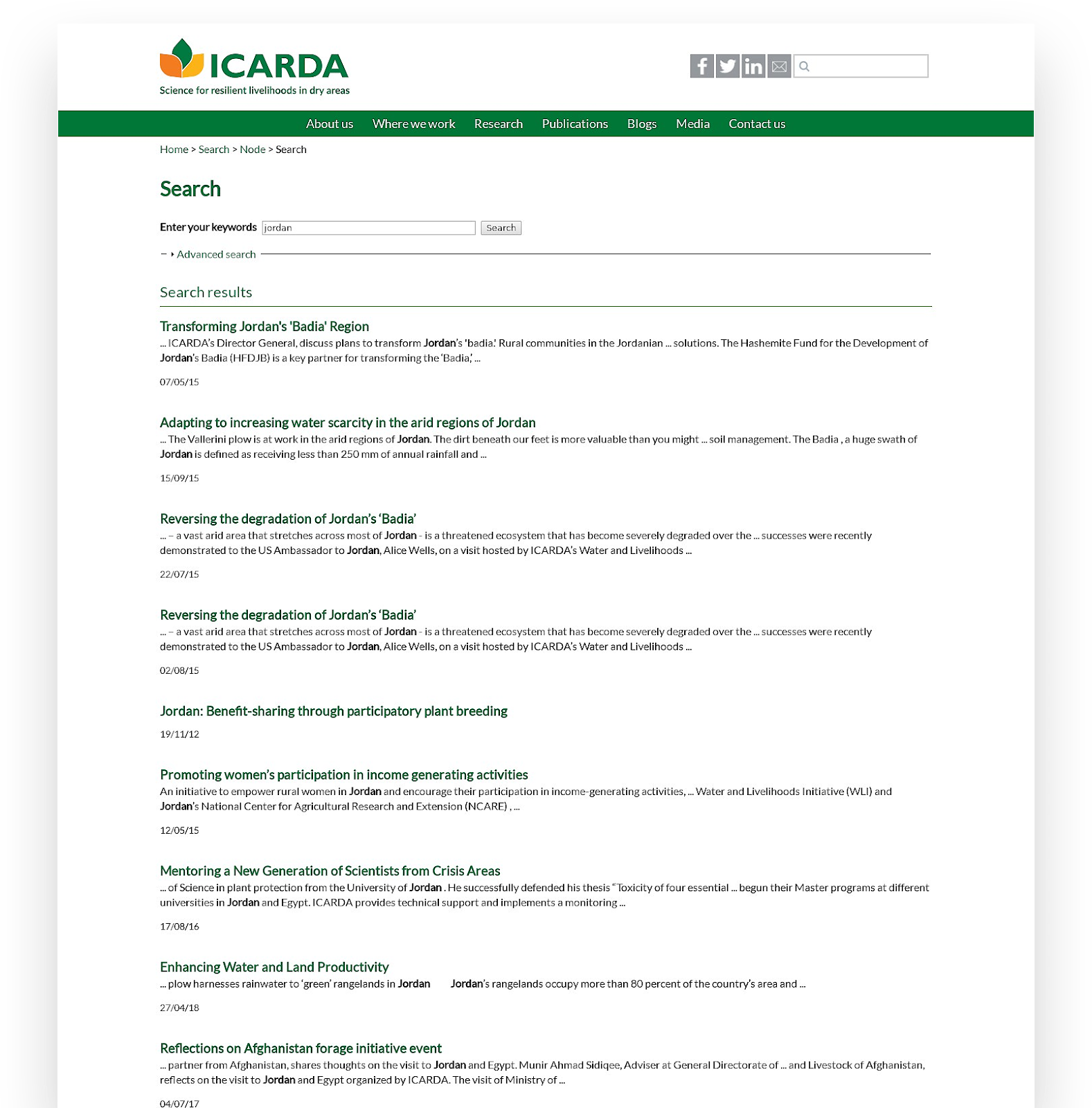 Old Search Results on ICARDA Legacy Website