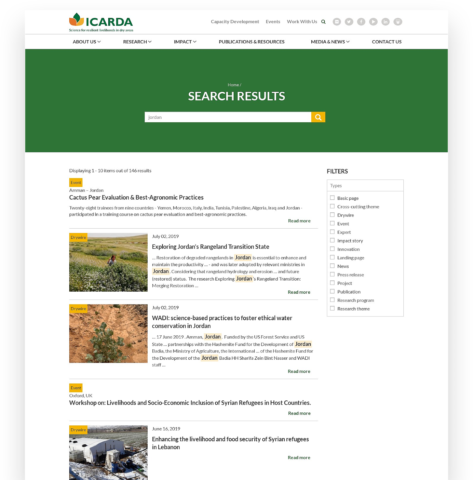 New Results Page - ICARDA D8 Website