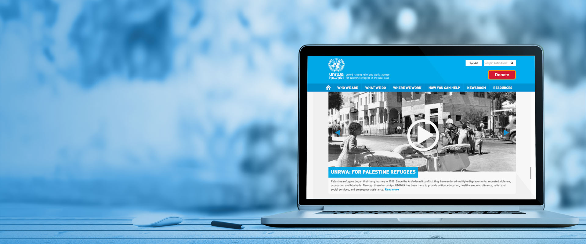 Laptop displaying UNRWA website