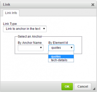 Upgraded CKEditor Anchor Link installed with a module