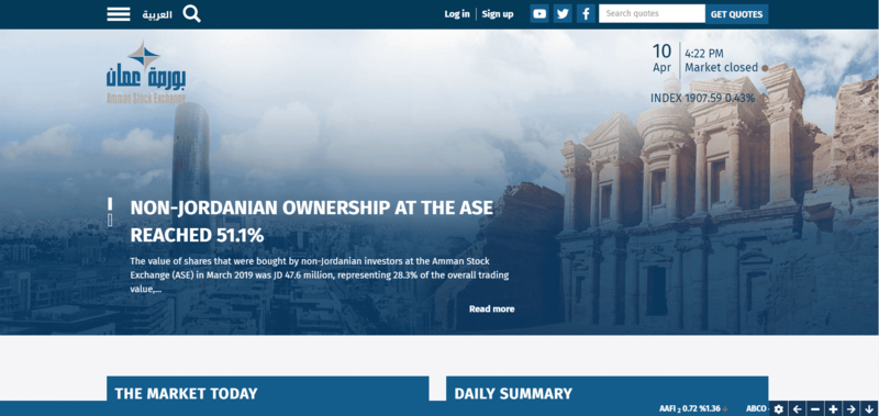 Amman Stock Exchange Website