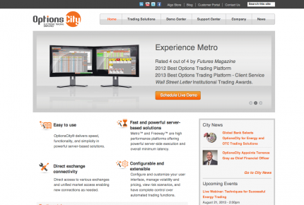 Options City website developed by Vardot screen-shot