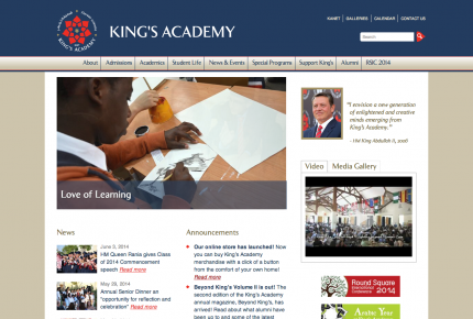 King's Academy Site screen-shot colored
