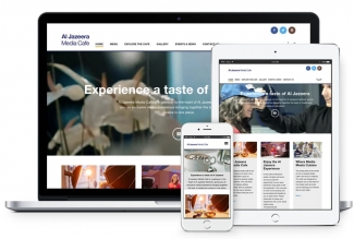 Al Jazeera Cafe website on mobile device, desktop and tablet computer